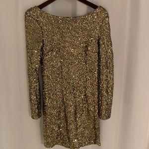 Low Back Gold Sparkle Dress